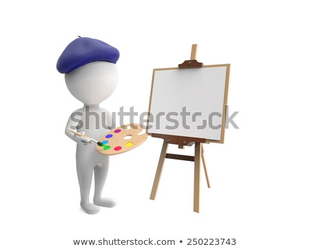 3d little human character painting stock photo © johanh