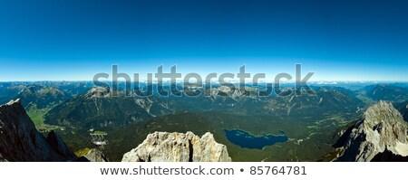 Panorámakép kilátás napos idő égbolt felhők erdő Stock fotó © 3523studio