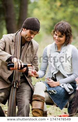 man watching the colour of a red wine of a red wine Stock photo © photography33