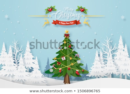 Papír vág karácsonyfa piros fehér hosszú Stock fotó © 3523studio