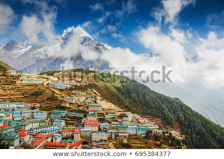 Mountain view with tibetan landmark Stock photo © ajlber