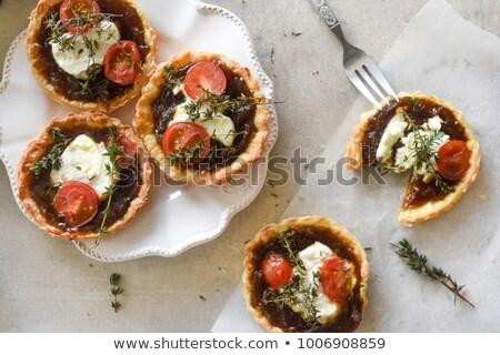 tomato and goat cheese tart stock photo © m-studio