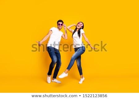 Tancerzy sylwetka człowiek świetle taniec disco Zdjęcia stock © illustrart