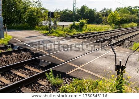spoorweg · rail · weg · teken · geïsoleerd · Blauw - stockfoto © HectorSnchz