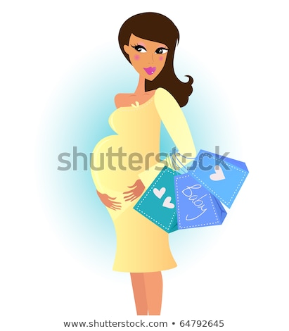 beautiful pregnant woman on shopping for her new baby vector illustration stock photo © balasoiu