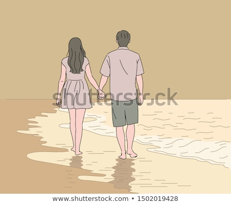 Couple back to back on the beach Stock photo © photography33