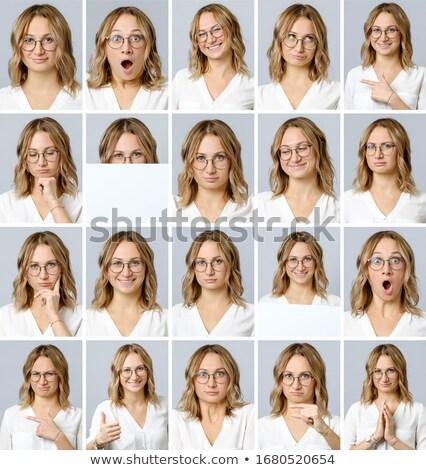 Collage femminile le espressioni facciali bella donna testa sepolto Foto d'archivio © stryjek