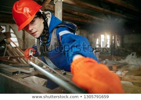 Mujer perforación nina sonrisa pelo trabajador Foto stock © photography33