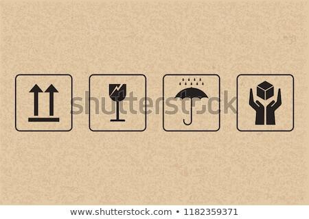 Veiligheid breekbaar icon karton papier inpakpapier Stockfoto © tashatuvango