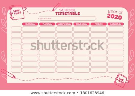Okul program yeşil sınıf kara tahta Stok fotoğraf © stevanovicigor