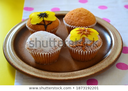 cupcakes decorated in chic polka dots background stock photo © marimorena