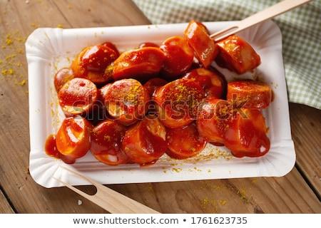 kerrie · ketchup · saus · worstjes - stockfoto © inganielsen