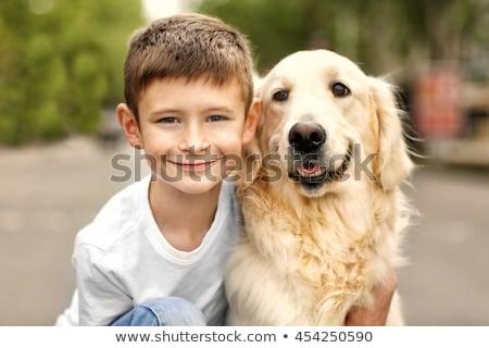 Fiú kutya portré aranyos legény átkarol Stock fotó © pressmaster