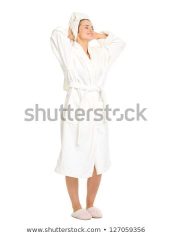 женщину халат полный портрет изолированный белый Сток-фото © stepstock