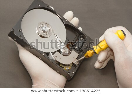 grup · mühendisler · sabit · disk · bilgisayar · onarım · adam · oyuncak - stok fotoğraf © kirill_m
