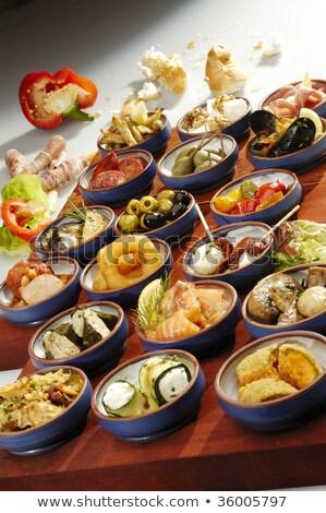 különböző · mexikói · étel · fa · asztal · étel · fa · levél - stock fotó © hanusst
