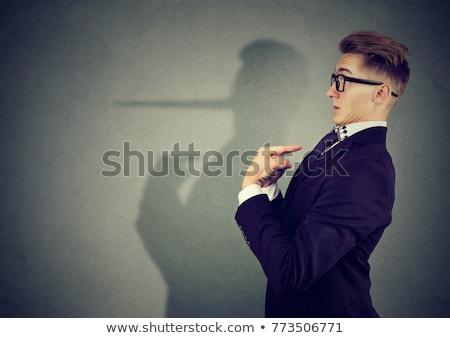 homem · longo · nariz · isolado · cinza - foto stock © stevanovicigor