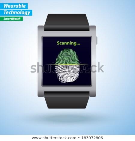 tablet scanning a finger print illustration stock photo © alexmillos