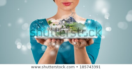unrecognizable woman presenting her virtual architectural projec stock photo © hasloo