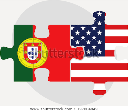 portuguese and usa flags in puzzle isolated on white background stock photo © istanbul2009