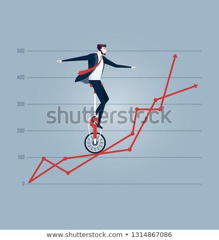 aislado · empresario · equilibrio · cuerda · de · equilibrista · blanco · negocios - foto stock © leeavison