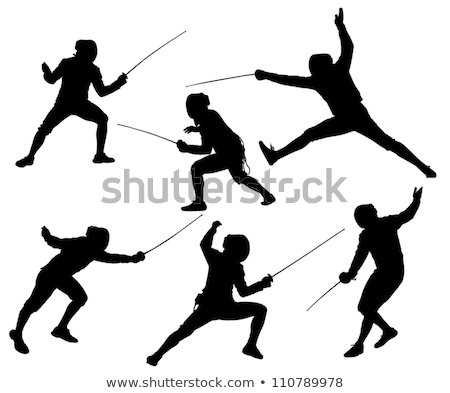 schermen · silhouetten · sport · staal · strijd · gevaar - stockfoto © Slobelix