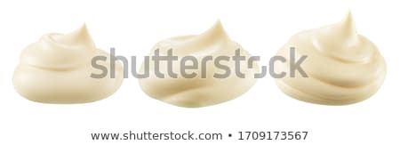 Mayonaise koken kok knoflook kom geïsoleerd Stockfoto © M-studio
