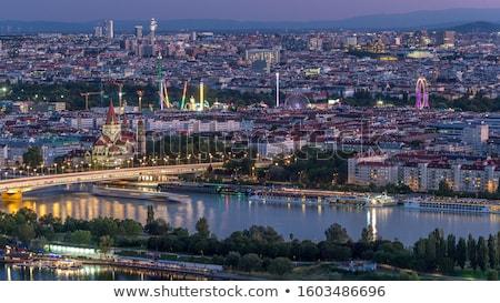 Templom Bécs Ausztria éjszaka város folyó Stock fotó © AndreyKr
