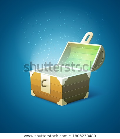magic fairy tale wooden trunk empty with lights stock photo © loopall