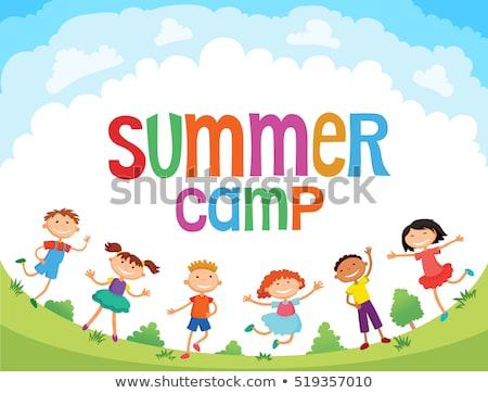 boldog · csoport · nyári · tábor · iskola · gyerekek · kéz · a · kézben - stock fotó © lightsource