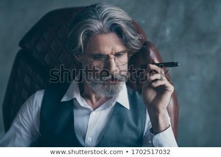 Stok fotoğraf: Dalgın · işadamı · oturma · ofis · koltuğu · gri · iş
