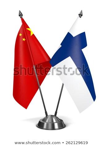 Китай Финляндия миниатюрный флагами изолированный белый Сток-фото © tashatuvango
