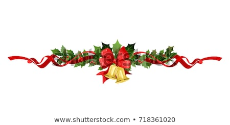 christmas border bells holly and ribbons stock photo © irisangel