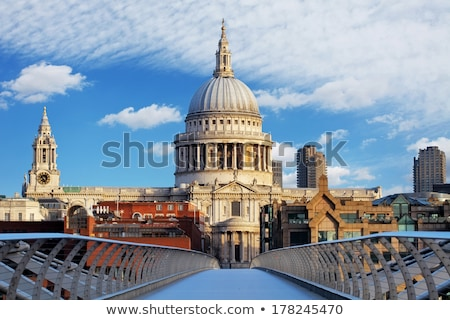 St Paul's cathedral with the Millennium bridge and river Thames stock photo © Joningall