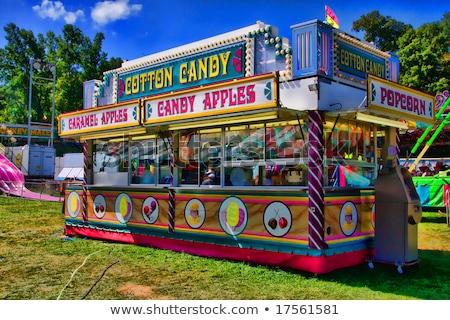 Bawełny candy koszyka wesołe miasteczko ilustracja dzieci Zdjęcia stock © adrenalina