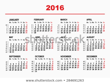 Stock photo: 2016 Calendar template. Horizontal weeks. First day Monday