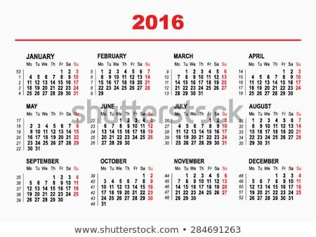 2016 Calendar template. Horizontal weeks. First day Monday stock photo © orensila