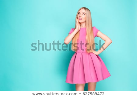 gyönyörű · lány · rózsaszín · ruha · gyönyörű · szőke · fiatal · nő - stock fotó © andersonrise