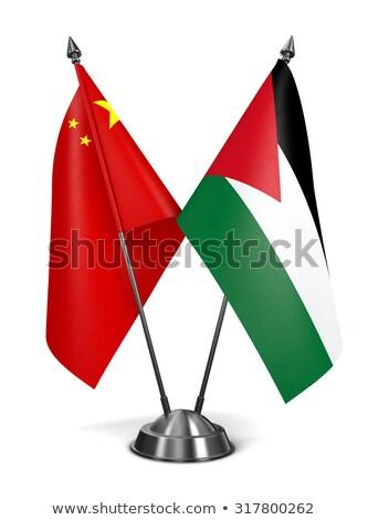 China Jordanië miniatuur vlaggen geïsoleerd witte Stockfoto © tashatuvango