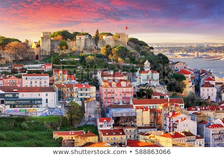 城 リスボン ポルトガル スカイライン 日 ストックフォト © neirfy