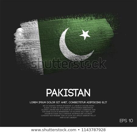Pakistan land vlag kaart vorm tekst Stockfoto © tony4urban