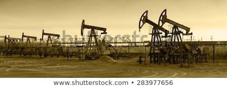 Pumpa szépia olajipar absztrakt panoráma olajfúró torony Stock fotó © EvgenyBashta