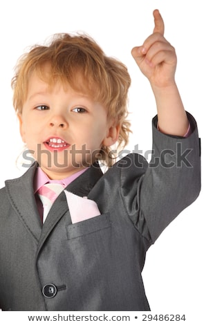Boy in suit with rised finger Stock photo © Paha_L