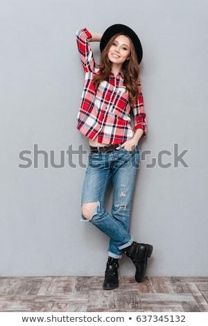 студент · девушки · позируют · красный · рубашку - Сток-фото © deandrobot