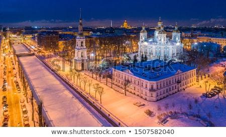orthodox church at night in winter stock photo © paha_l