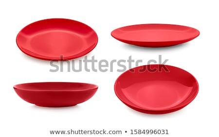 Piros edények izolált fehér konyha vacsora Stock fotó © shutswis
