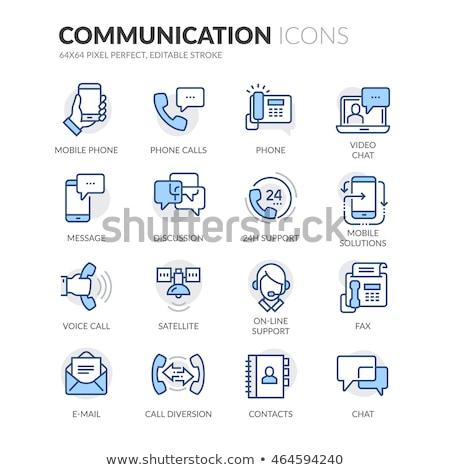 rádió · antenna · ikon · kék · keret · terv - stock fotó © filata