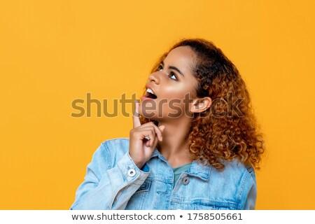 szépség · portré · gyengéd · fiatal · nő · smink · megérint - stock fotó © deandrobot