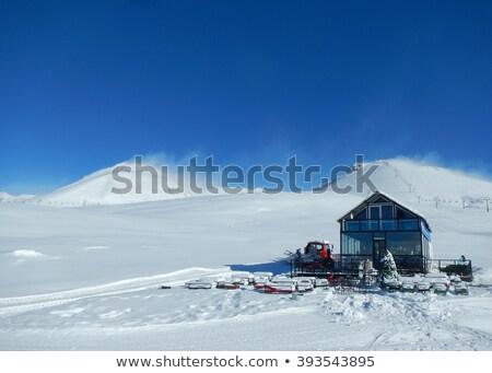 ski resort at windy sun morning stock photo © bsani