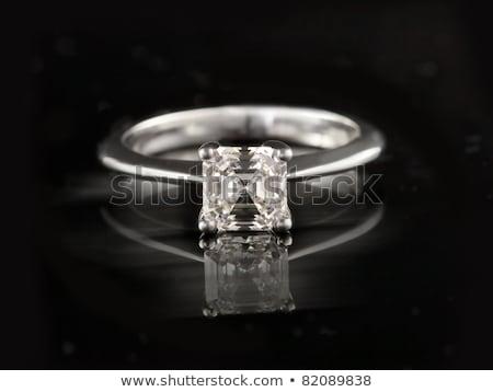 Zdjęcia stock: Beautiful Ascher Cut Diamond Engagement Wedding Ring